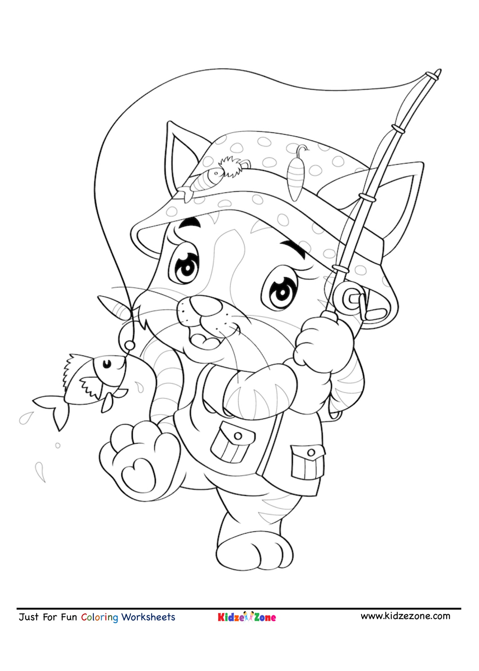 Tiger Gone Fishing Cartoon Coloring Page