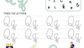 Letter Q Tracking Worksheet. Learn words with letter Q