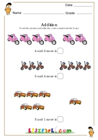 Maths Counting Addition Worksheets Vehicle Addtion
