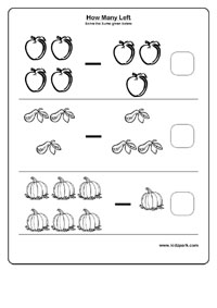 Simple Subtraction Activity Sheet For Kindergarten
