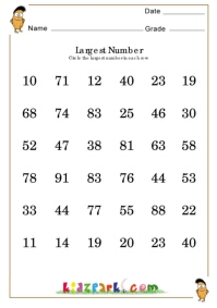 Find The Largest Number Worksheets Printable Numbers
