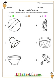 Read The Object Number And Coloring Worksheet K G