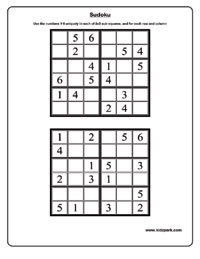 Sudoku Worksheets Activity Sheets For Kids Puzzle