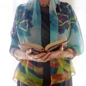 Silk Jewish Etz Chaim Blue Prayer Shawl Torah