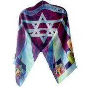 Jewish Prayer Shawl - Purple Silk Jerusalem Back2