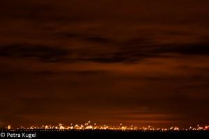 Skyline met vuurwerk
