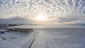 Luchtfoto van het landschap vanaf Drieborg