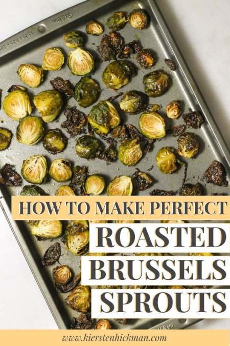Roasted Brussels sprouts pin for Pinterest