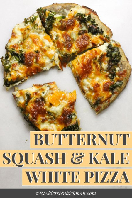 Butternut squash kale white pizza pin for Pinterest