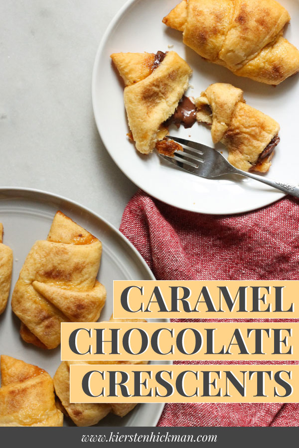 caramel chocolate crescents pin for pinterest