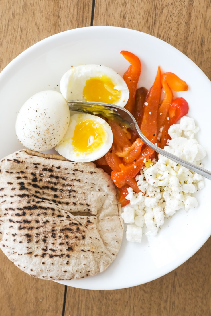 soft boiled egg breakfast with roasted red peppers