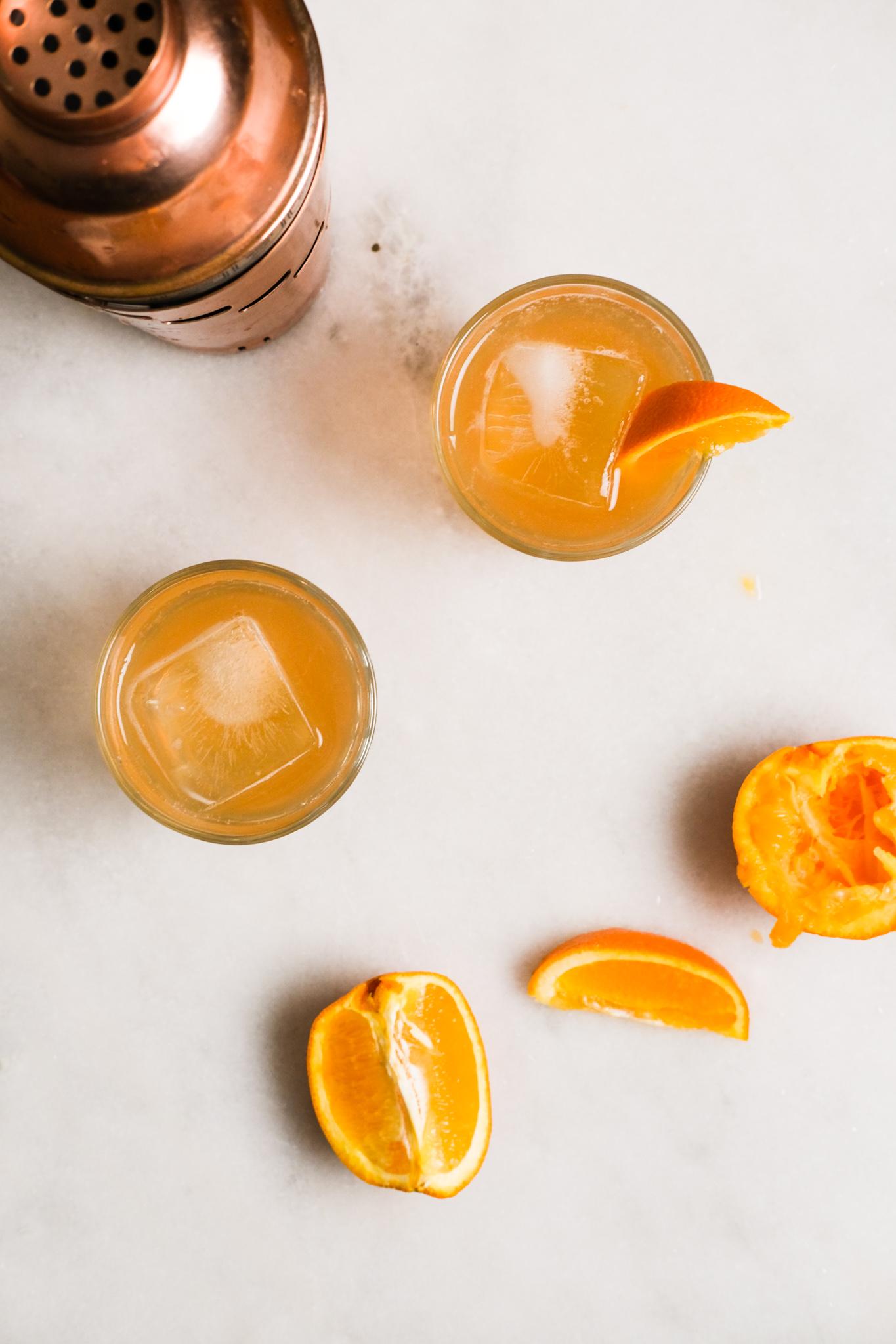 setting up orange whiskey sours