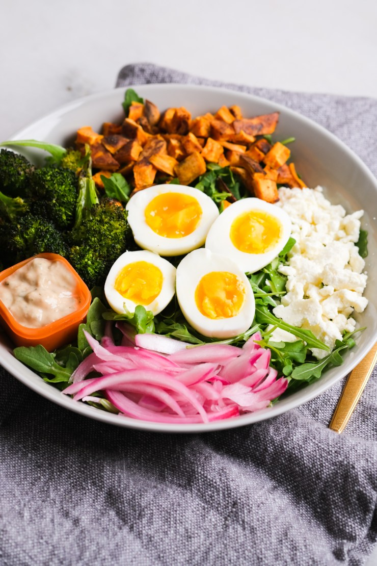 goddess arugula bowl with seven minute eggs