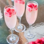 three glasses of raspberry heavenly lemonade
