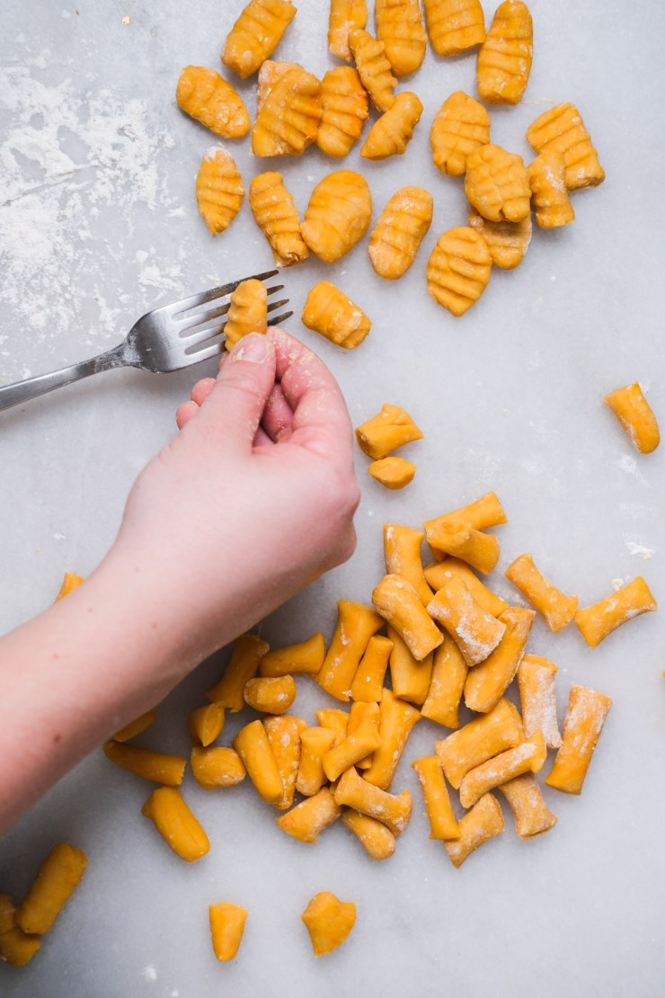 forming gnocchi with a fork