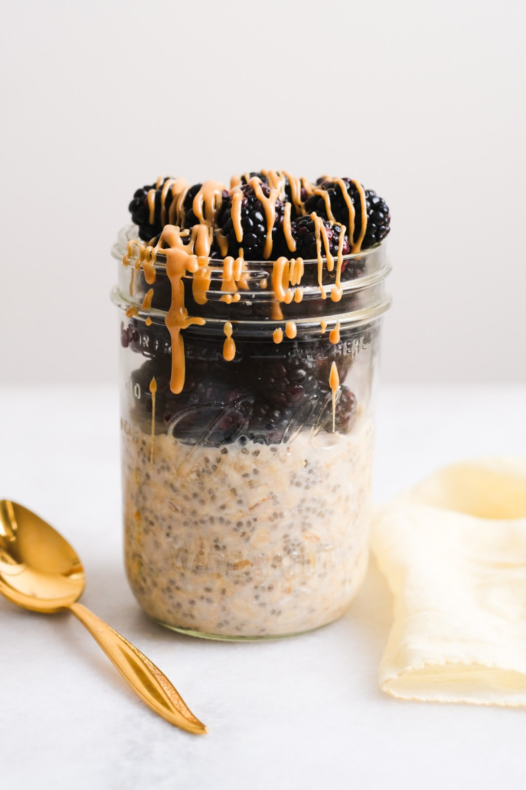 peanut butter overnight oats with fresh blackberries