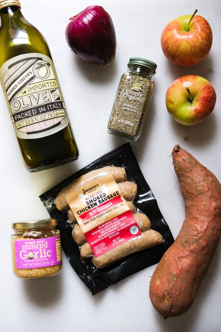 ingredients for sweet potato sausage bake