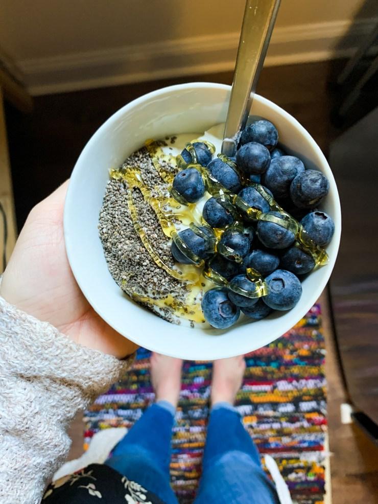 easy snack idea yogurt and berries