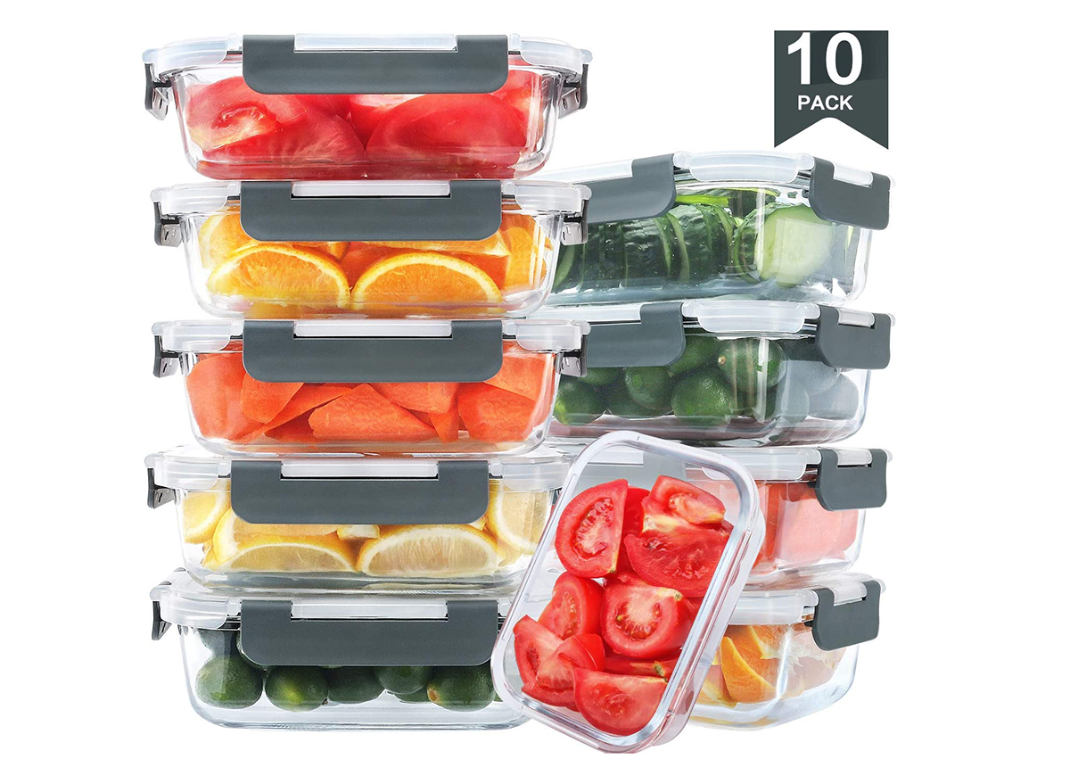 freezer container set with food