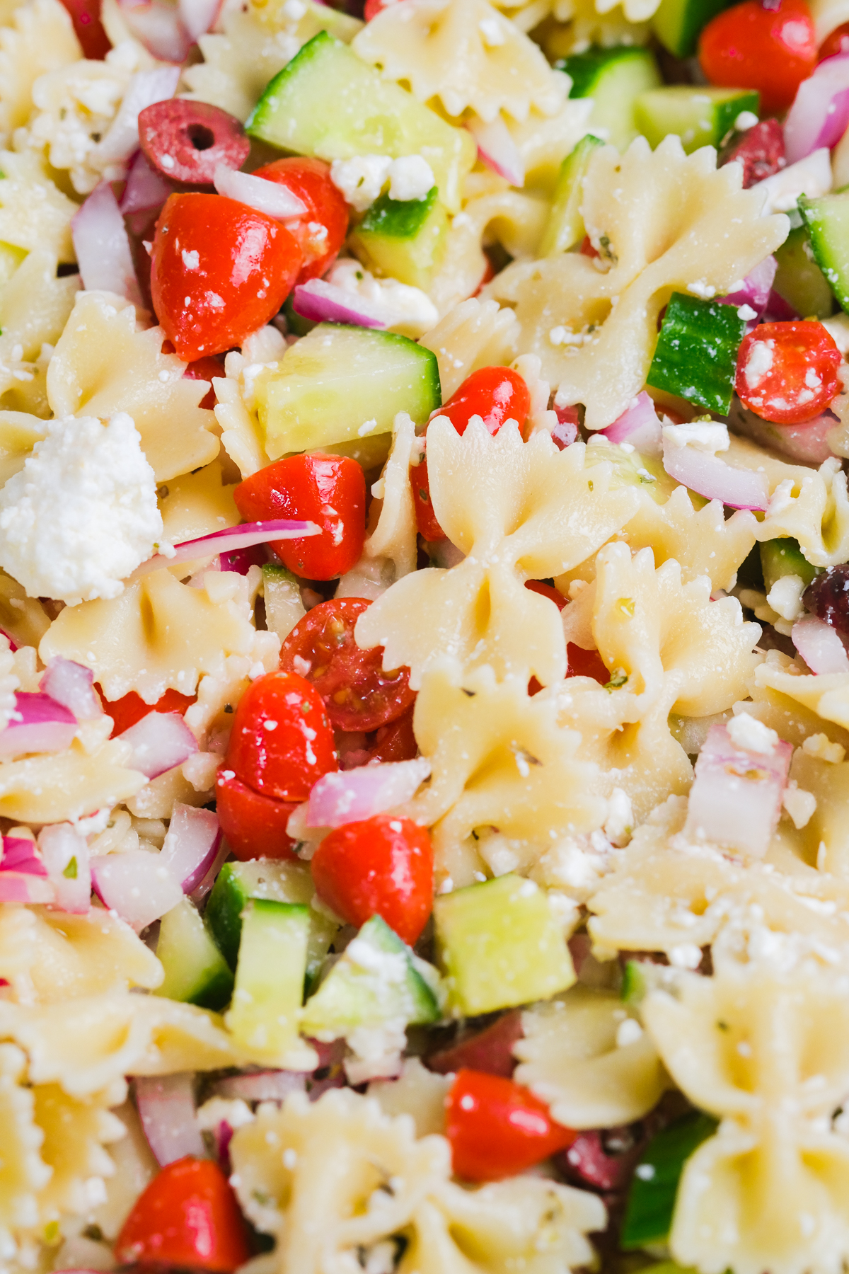 close up of vegetarian pasta salad