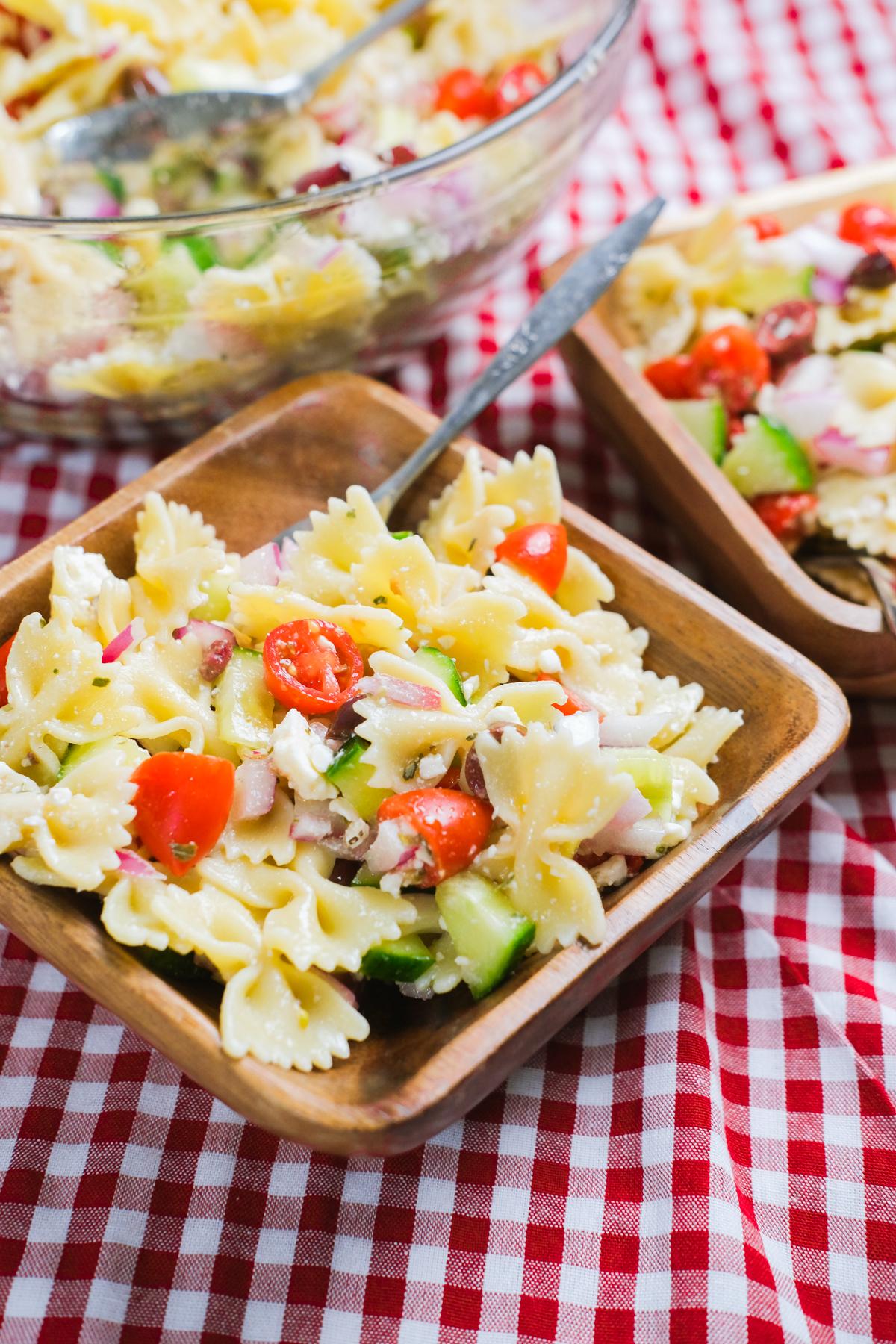 bowls of greek pasta salad