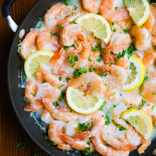 Lemon Garlic Shrimp in White Wine Sauce