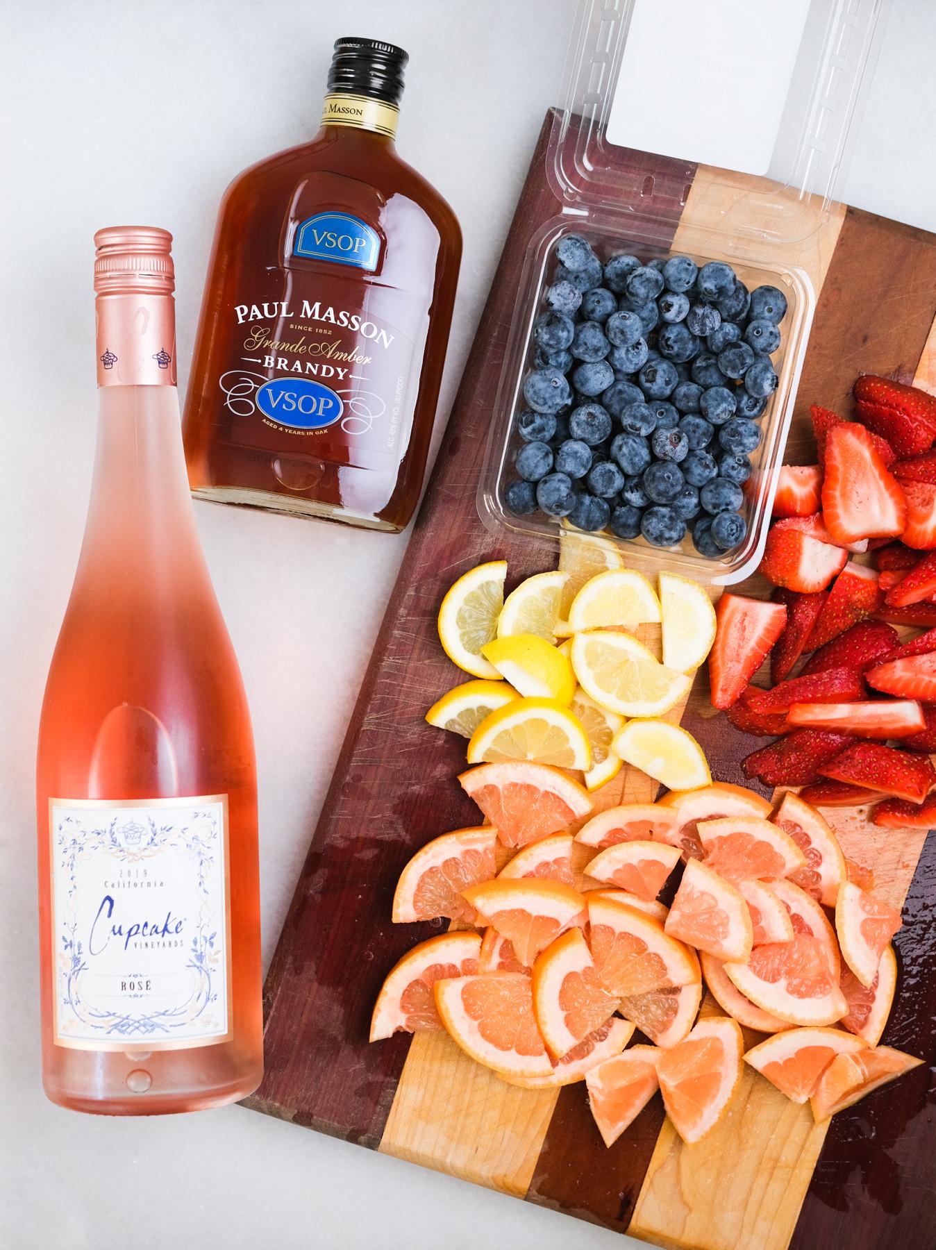 ingredients for rose sangria