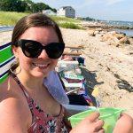 eating snacks on the beach