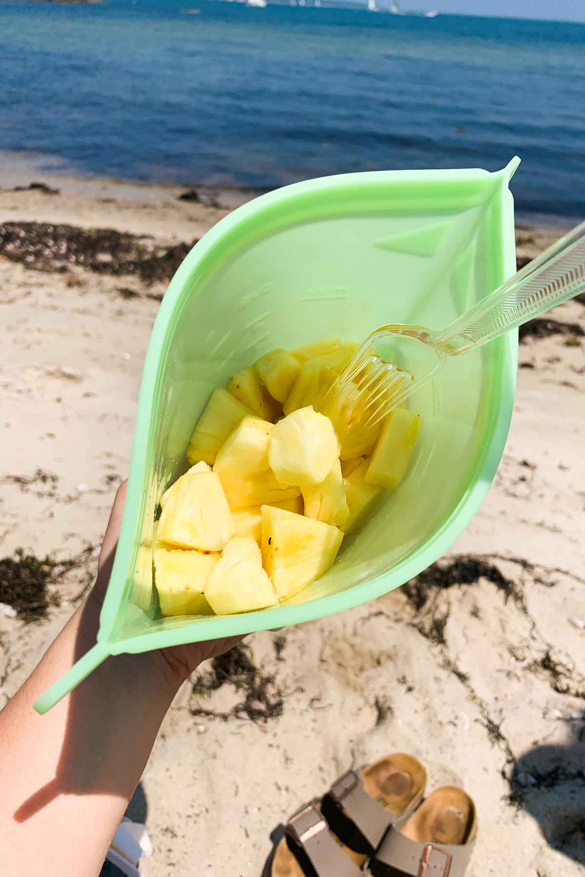 pineapple in a bag on the beach