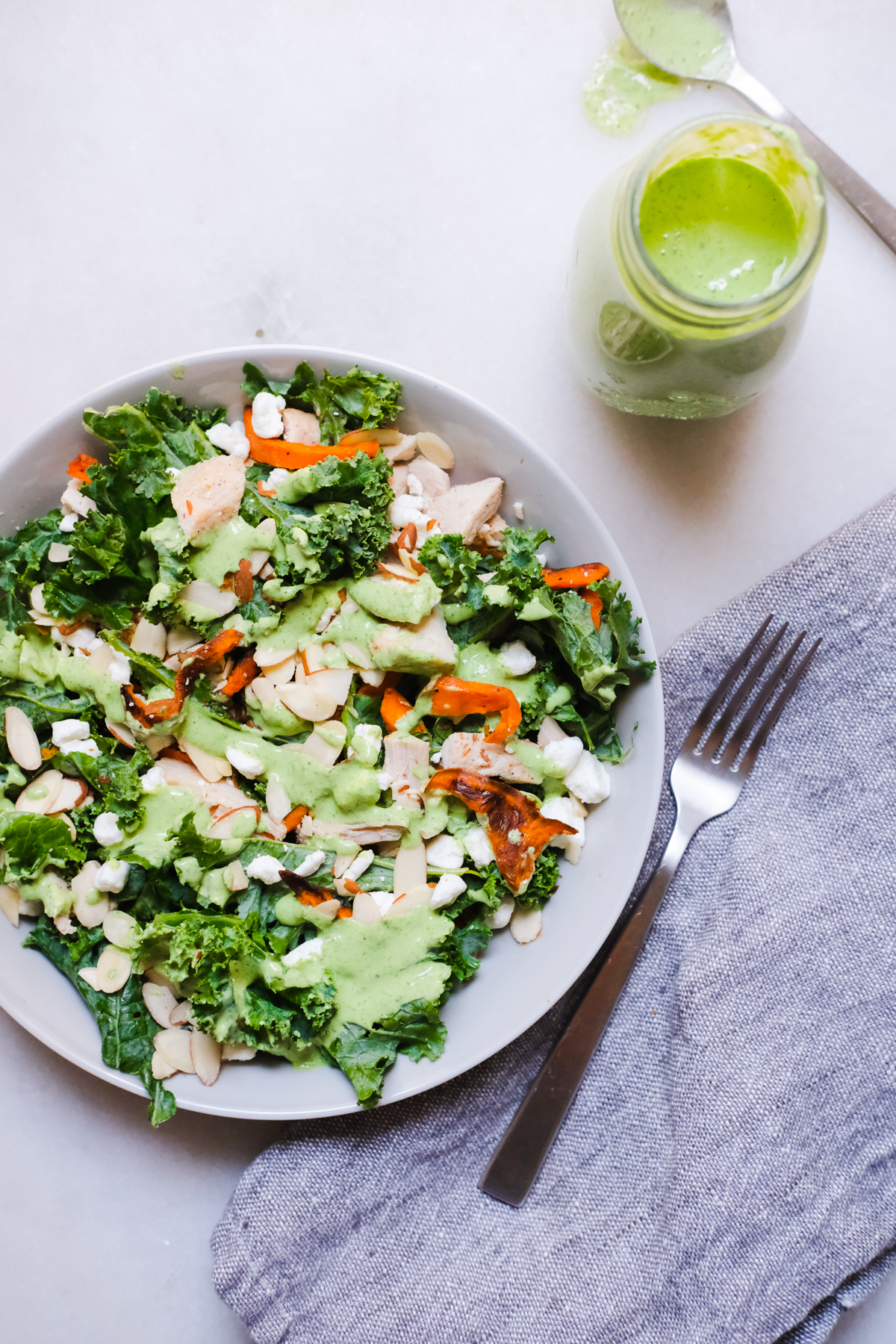 kale salad with green goddess dressing