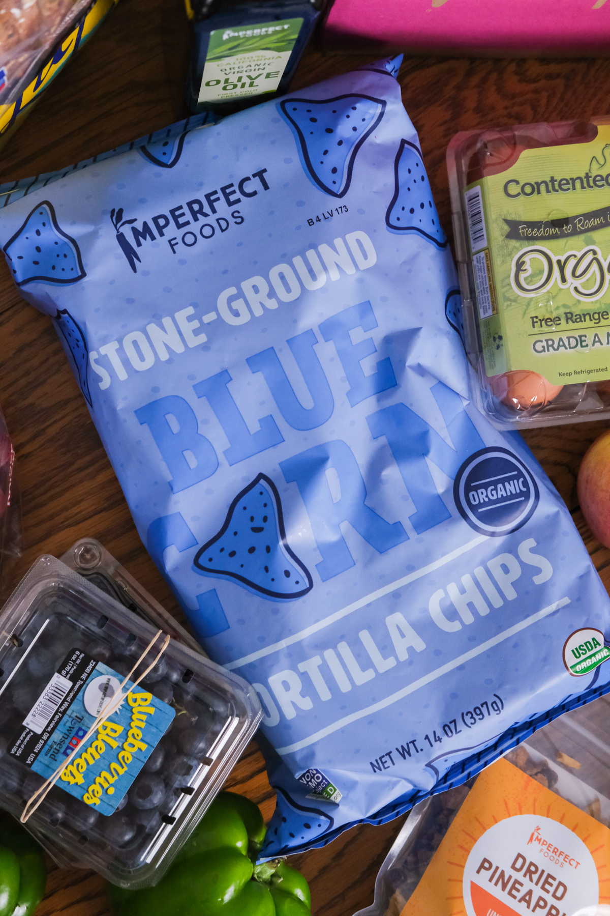 blue tortilla chips from imperfect foods