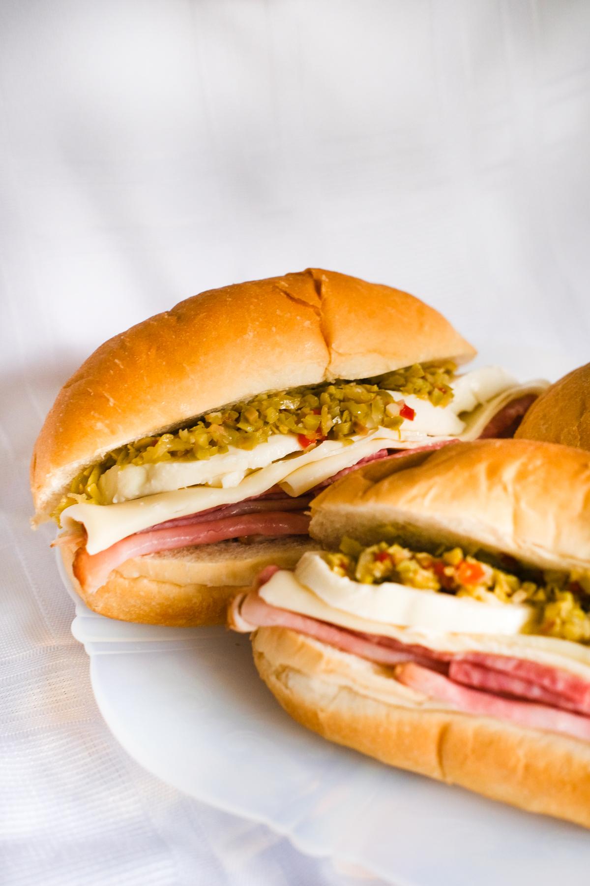 muffuletta sandwiches on a plate