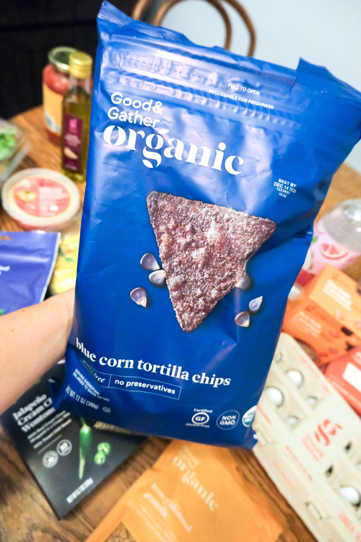 organic blue tortilla chips Good & Gather from Target