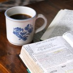 coffee with a bible and journal in the morning
