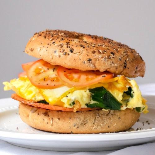 Spinach Omelette Breakfast Sandwich