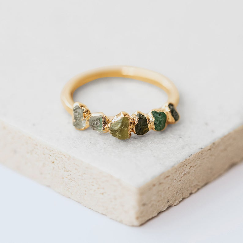 ombre emerald stacking ring