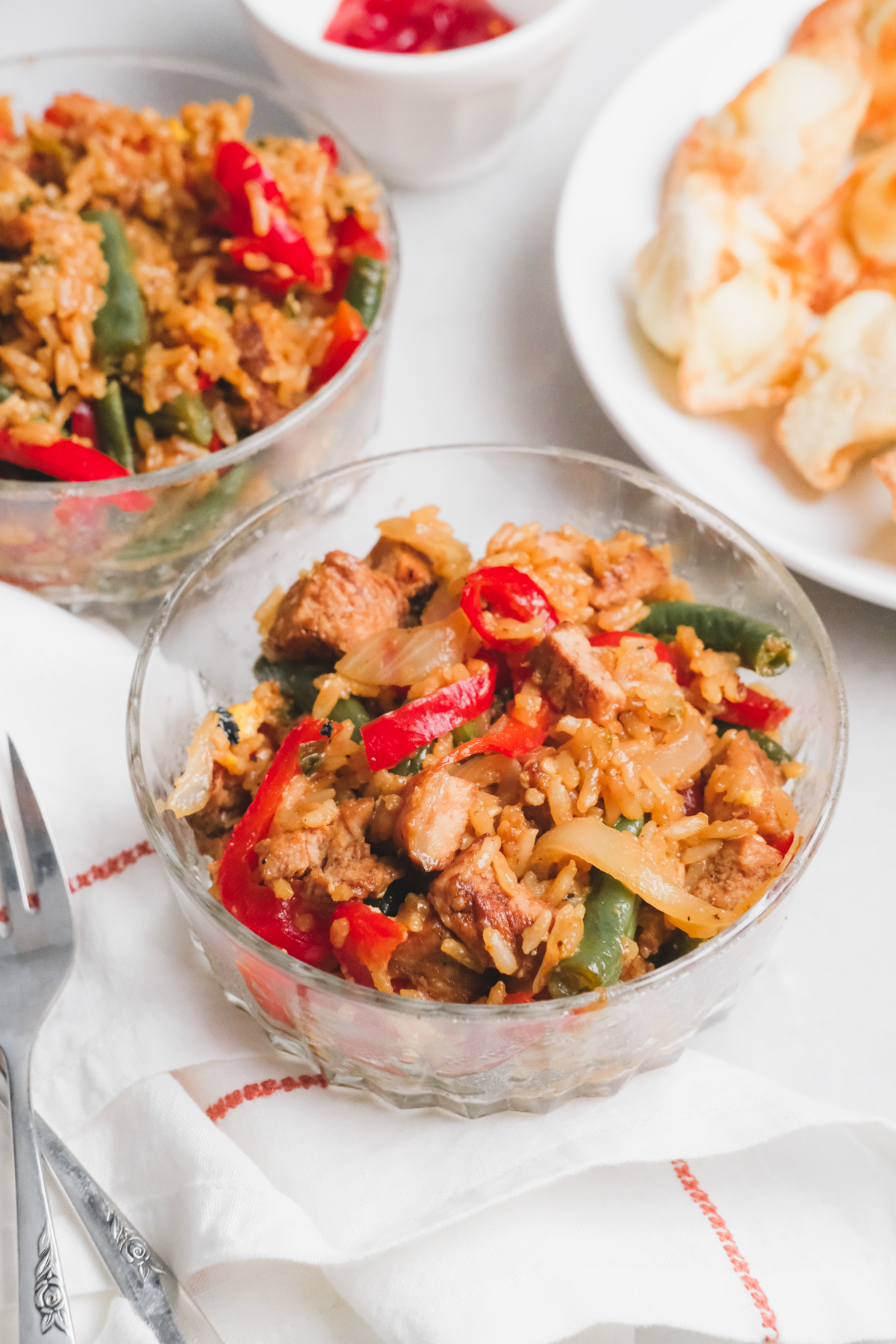 bowls of pork fried rice