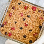 berry baked oatmeal in an 8x8 pan