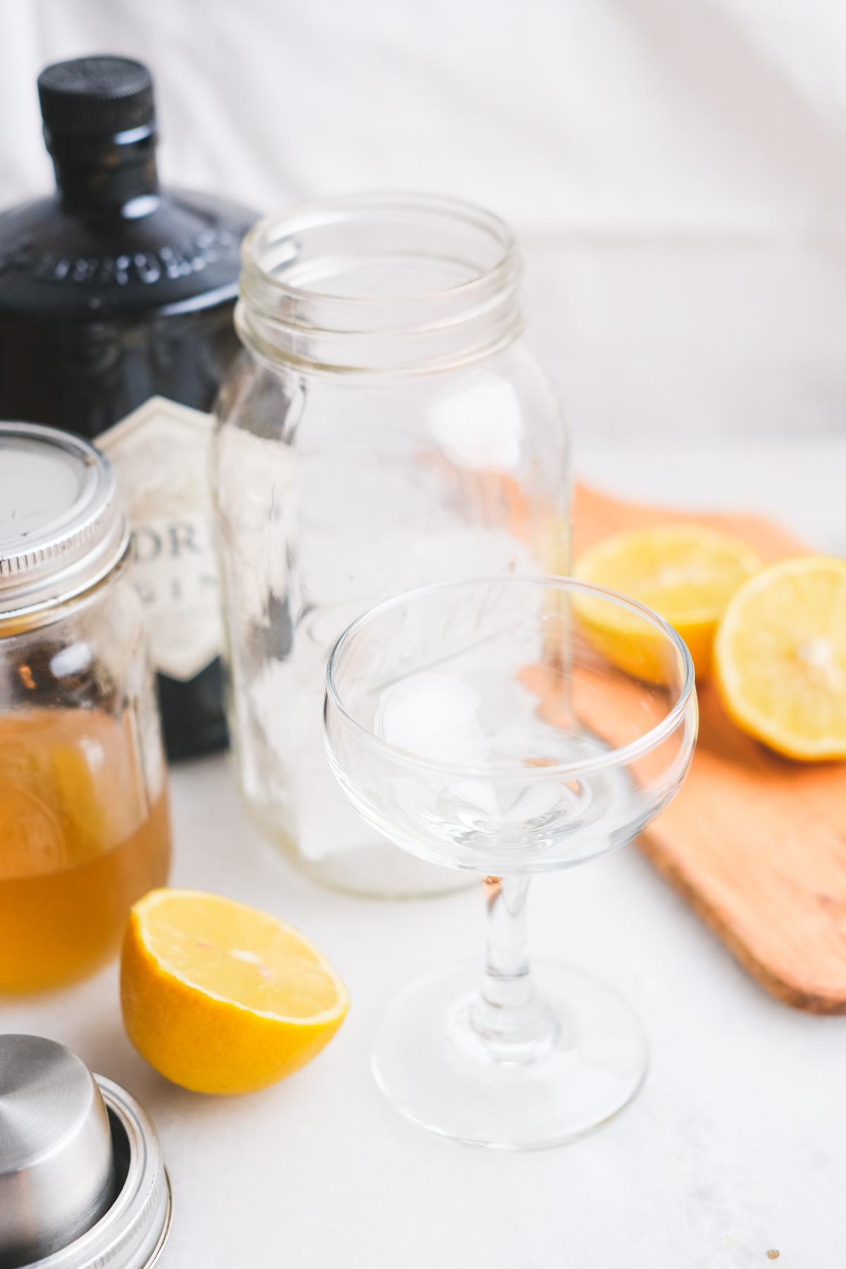 supplies for a honey lemon gimlet cocktail
