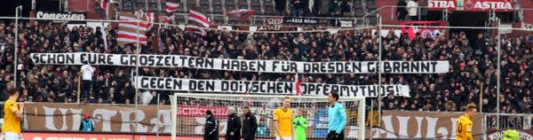 Schon Eure Eltern haben für Dresden gebrannt - Gegen den Deutschen Opfermythos. Foto: Ultrà Sankt Pauli