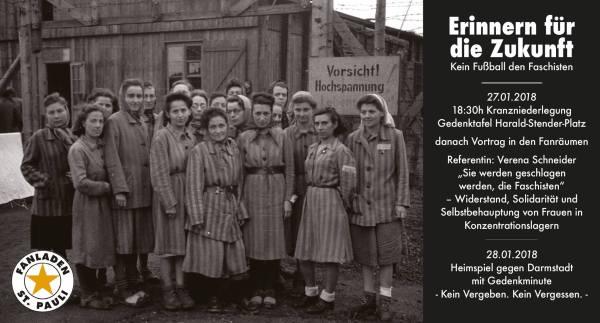 Programmflyer Ablauf Holocaust Gedenktag 2018, Millerntor - Stadion
