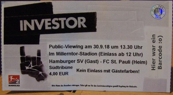 Eintrittskarte zum Publicviewing vom Derby FC St. Pauli gegen die Rothosen