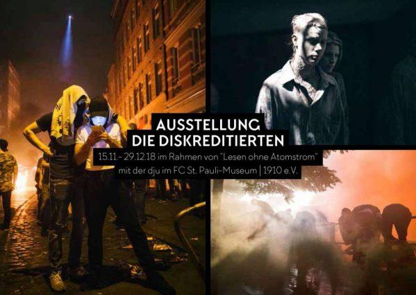 Veranstaltungsflyer zeigt mehrere bildliche Eindrücke rund um Demonstrationen beim G20.