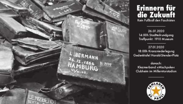 Ein Schwarz-Weiß-Foto mit vielen aufeinander gestapelten Aktentaschen. Rechts die Veranstaltungen (stehen auch im Fließtext)