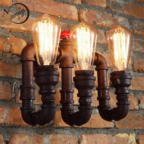 loft industriel 2 3 lumieres tuyau d eau noir retro applique vintage e27 e26 led applique pour salon chambre restaurant bar couleur rouge vin