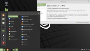 Ilustración 38: Linux Mint 20.1 Ulyssa, con el escritorio de Cinnamon y la pantalla de bienvenida.