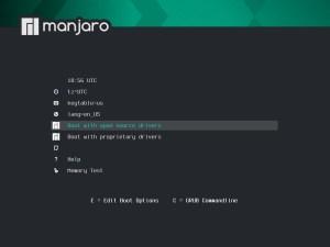 Ilustración 42: Pantalla del instalador del Live CD de Manjaro (contiene varias configuraciones desde su arranque).