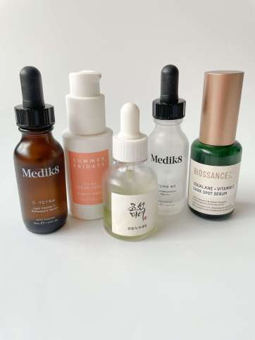 Selection of serums for morning skincare routine