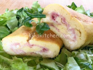rollo de jamón rellenos de patata y queso