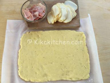 Rollo de jamón y queso patatas